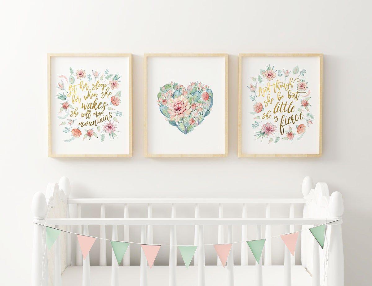Cactus nursery print decor succulent botanicals art for