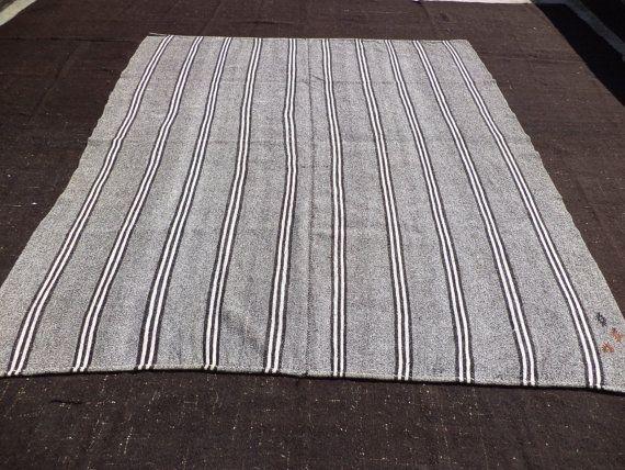 Large Turkish Kilim Feet Cm Vintage Home Decor Black And White Rug Anatolian Striped