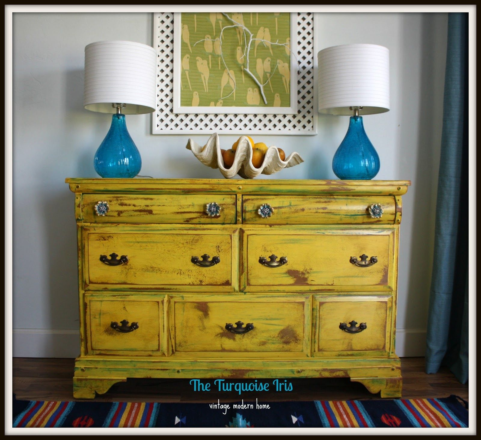 Vintage Yellow Dresser Distressed Accented With Teal Yellow Painted Furniture Yellow Furniture Yellow Distressed Furniture