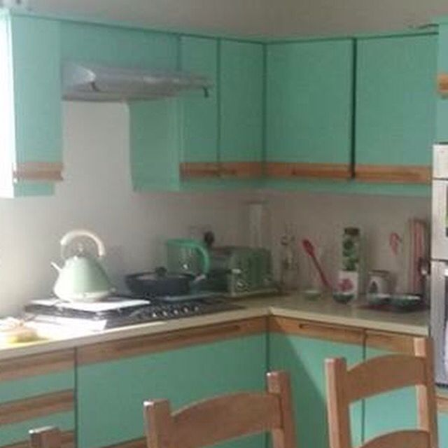 Best Brown Melamine Kitchen Repainted In Farrow Ball Arsenic 400 x 300