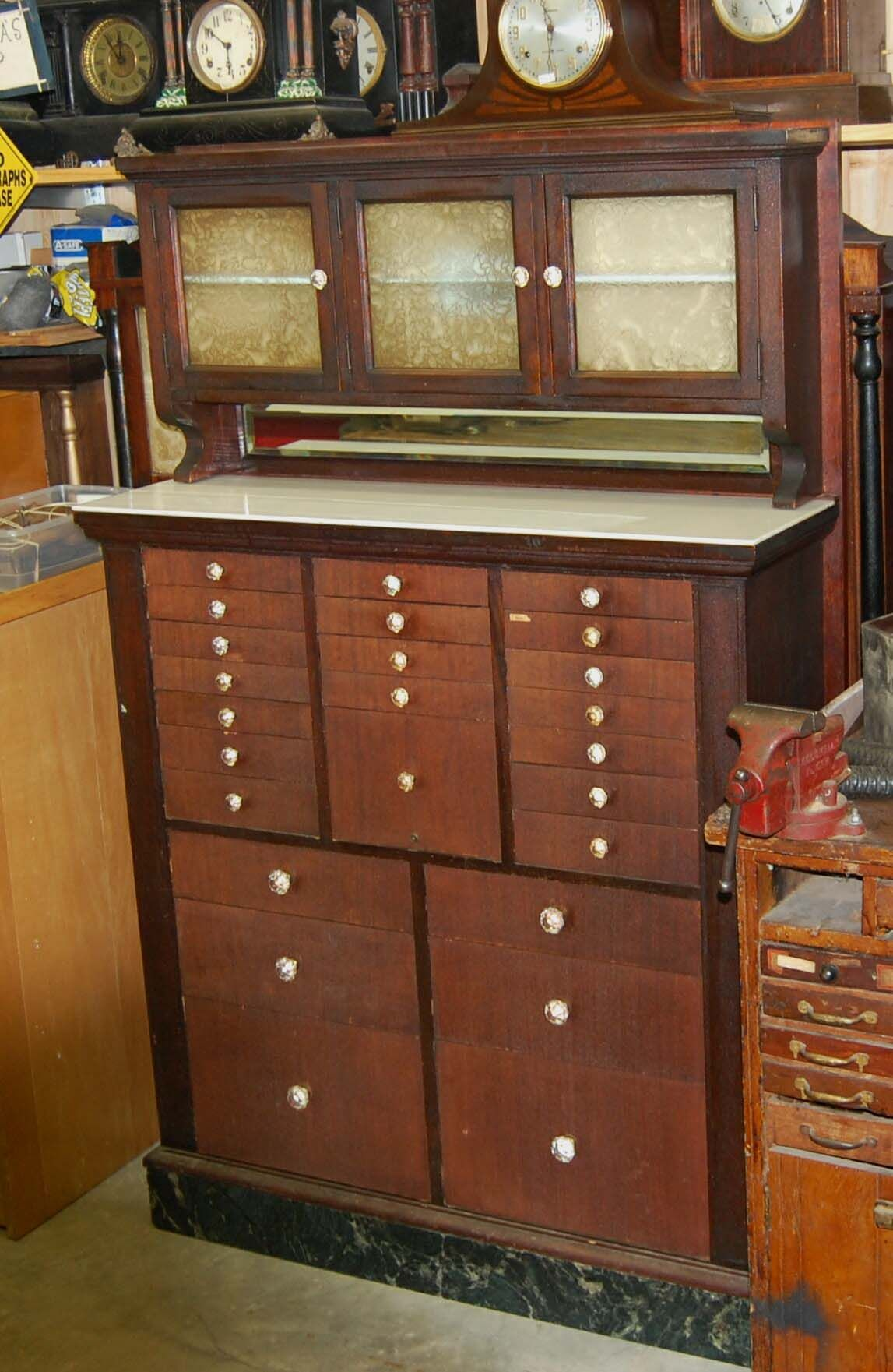 Vintage dental cabinet (note all the slender drawers) to use as a ...