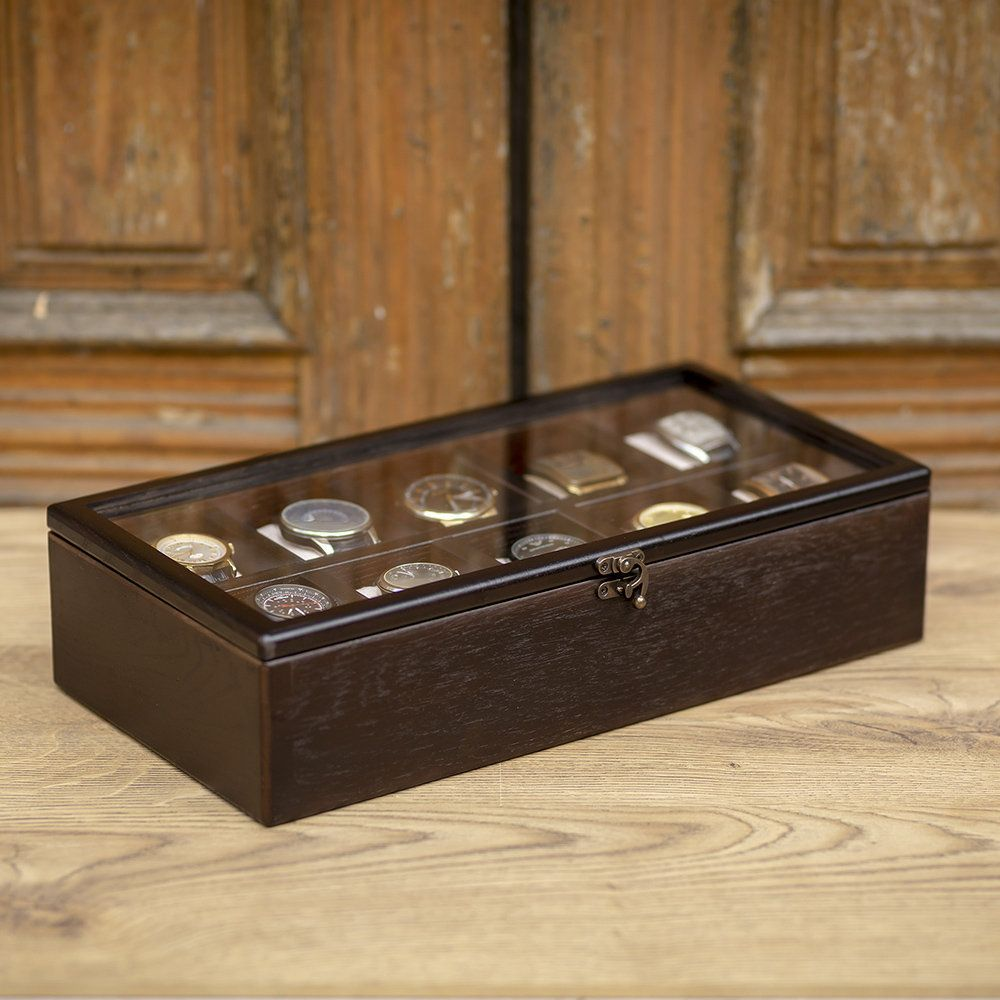 Wooden Watch Box Hetch Ds6 Wenge For 10 With Glass Wooden Box With Compartments 10 Watch Box Personalized M Wooden Watch Box Mens Watch Box Wood Watch Box