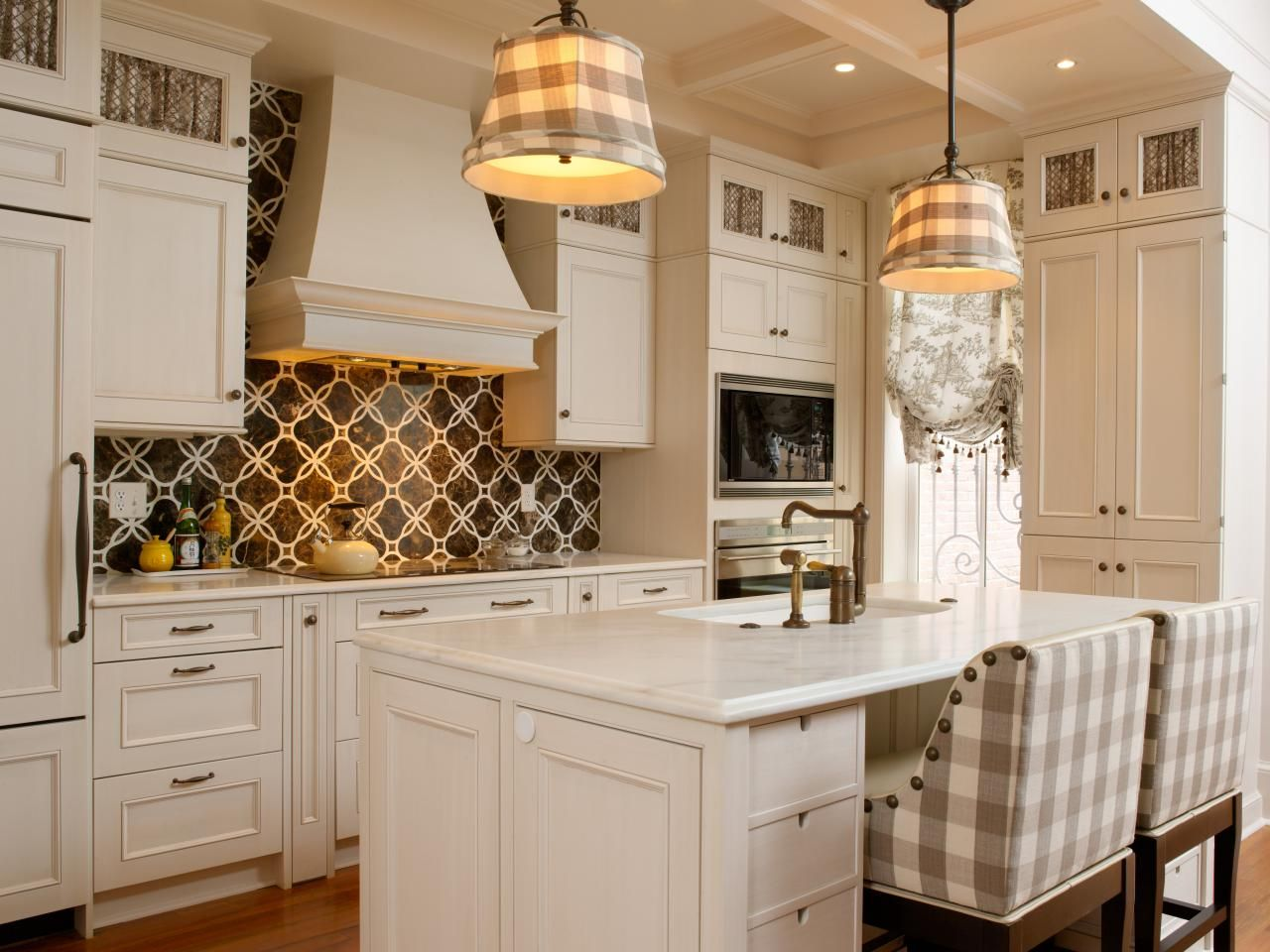 A variety of patterns from plaids on the lights and chairs to a