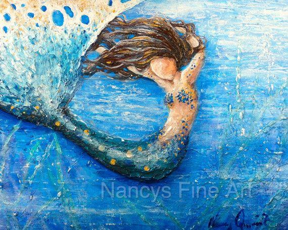 Original abstract mermaid art print blue mermaid by NancysFineArt