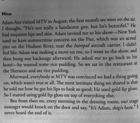 Adam Ant's lipgloss secret has been revealed! Thanks Nina Blackwood!