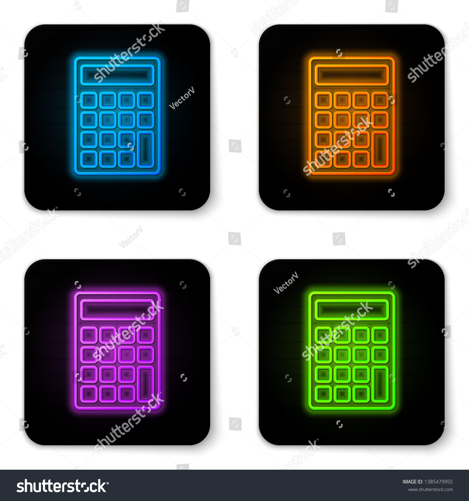 Glowing Neon Calculator Icon Isolated On White Background Accounting Symbol Business Calculations Mathematics Educat Custom Neon Lights Purple Aesthetic Neon