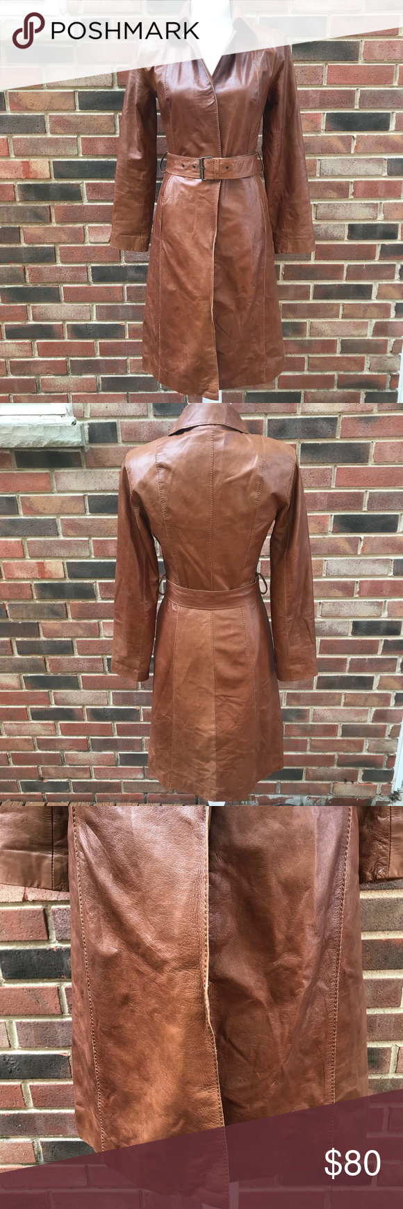 Vintage Wilson's Leather Trench Coat Sz. S Wilsons Leather