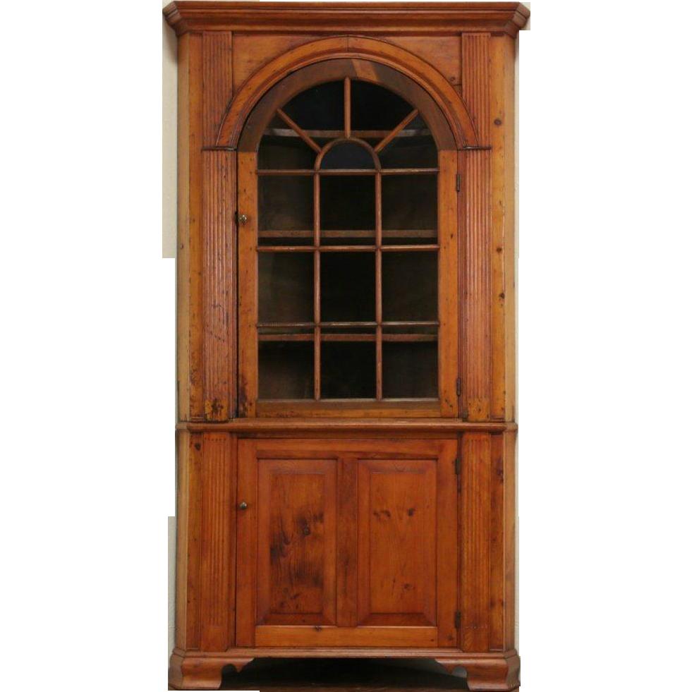 Georgian 1820's Antique Pine Corner Cabinet or Cupboard - Georgian 1820's Antique Pine Corner Cabinet Or Cupboard Cupboards