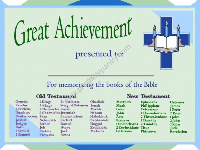 Printable Memorizing Books of the Bible Award Certificate Sunday - fresh free printable sunday school promotion certificates