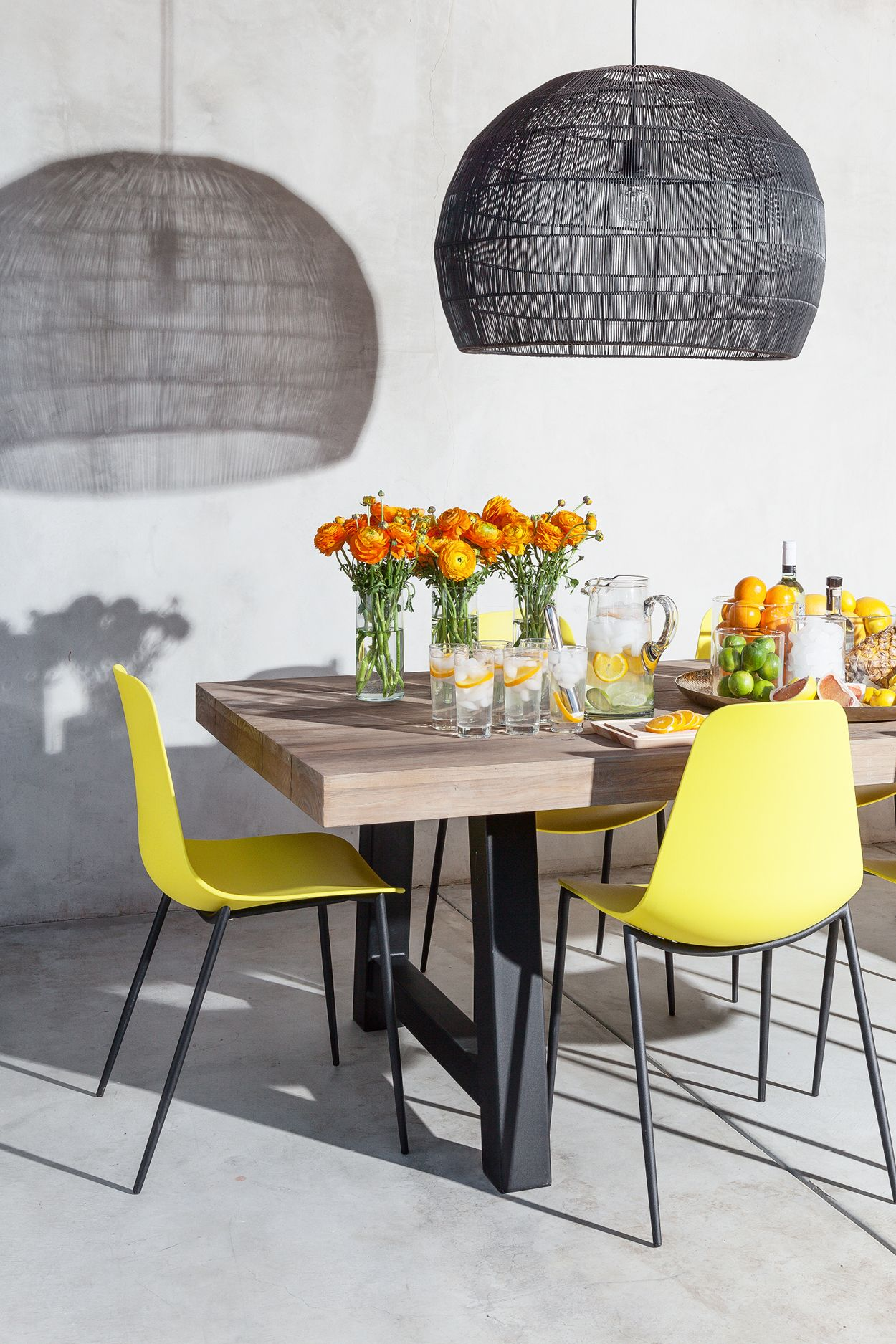 2x Yellow Accent Dining Chairs Metal Legs Article Svelti Modern