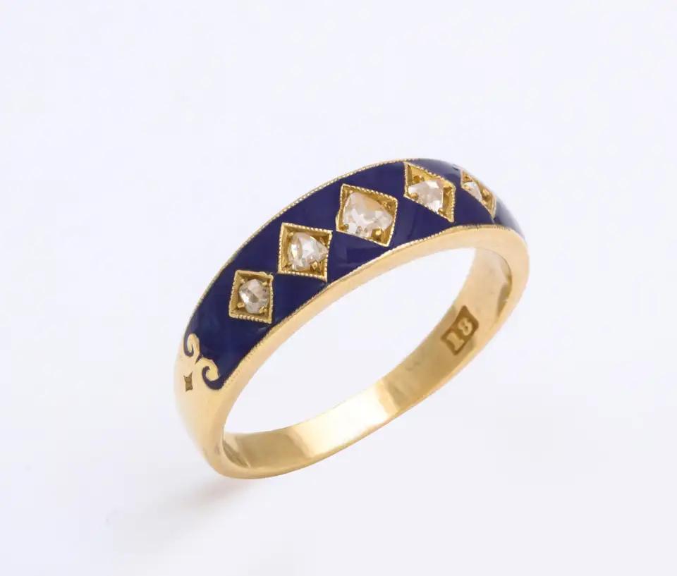 English Diamond Enameled Harlequin Ring, circa 1890 in