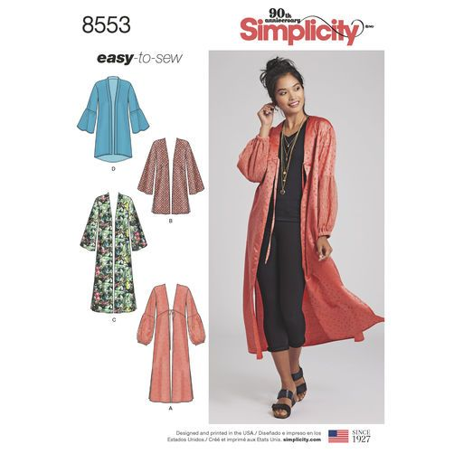 Simplicity Pattern 8553 Misses\' Kimonos | Sewing Patterns (to buy ...