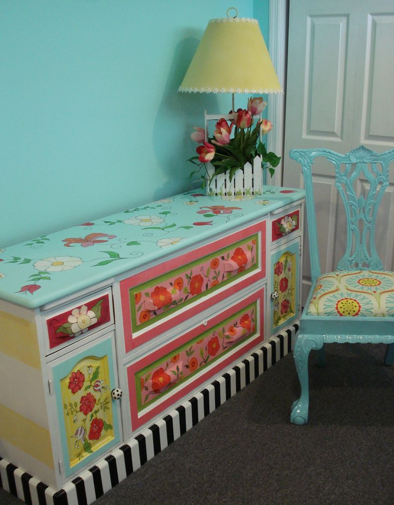 whimsical furniture and decor. Great, Whimsical Painted Dresser...don\u0027t Even Have To Stick Furniture And Decor