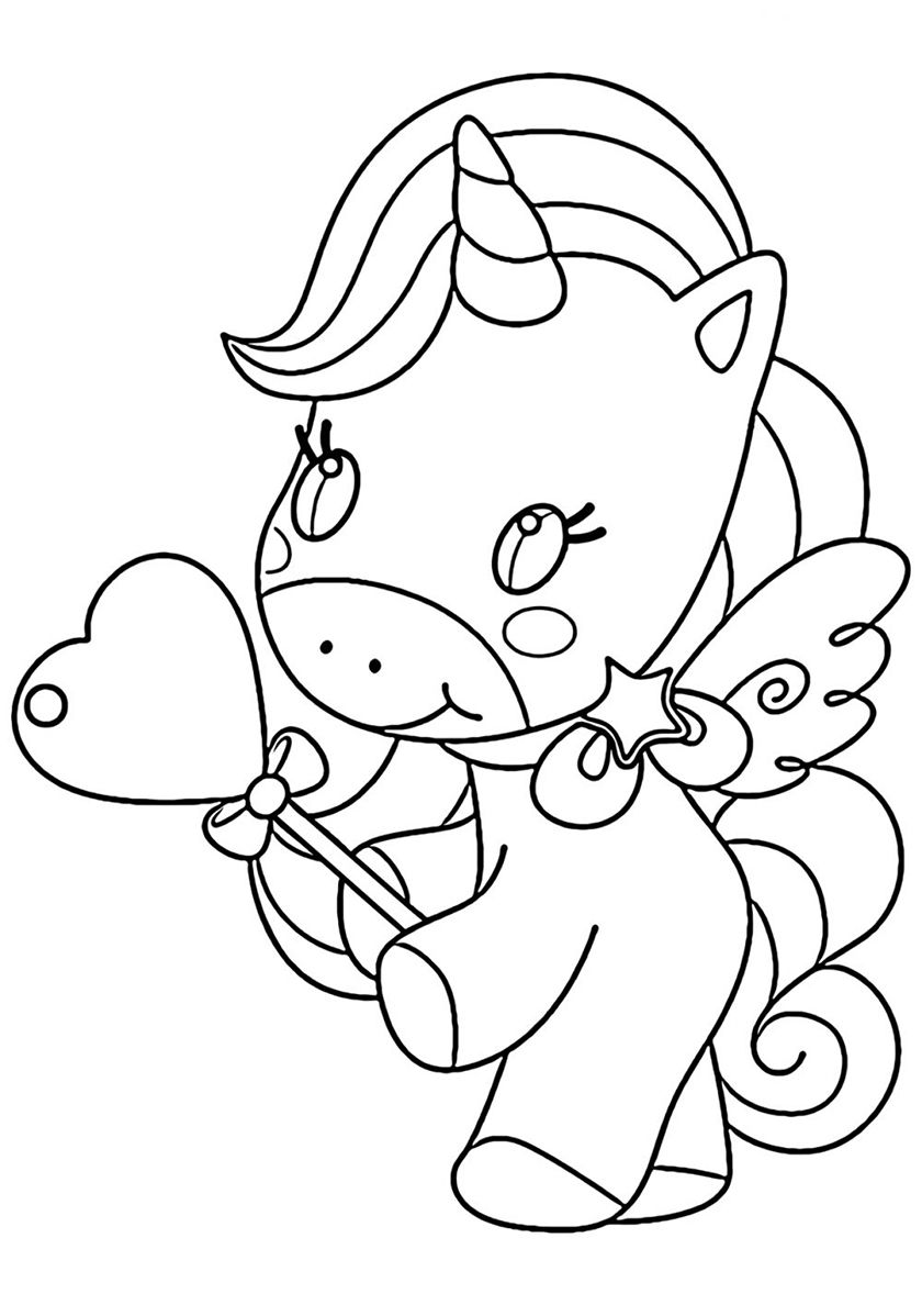 Present From The Heart High Quality Free Coloring From The Category Unicorn More Printa Unicorn Coloring Pages Heart Coloring Pages Birthday Coloring Pages