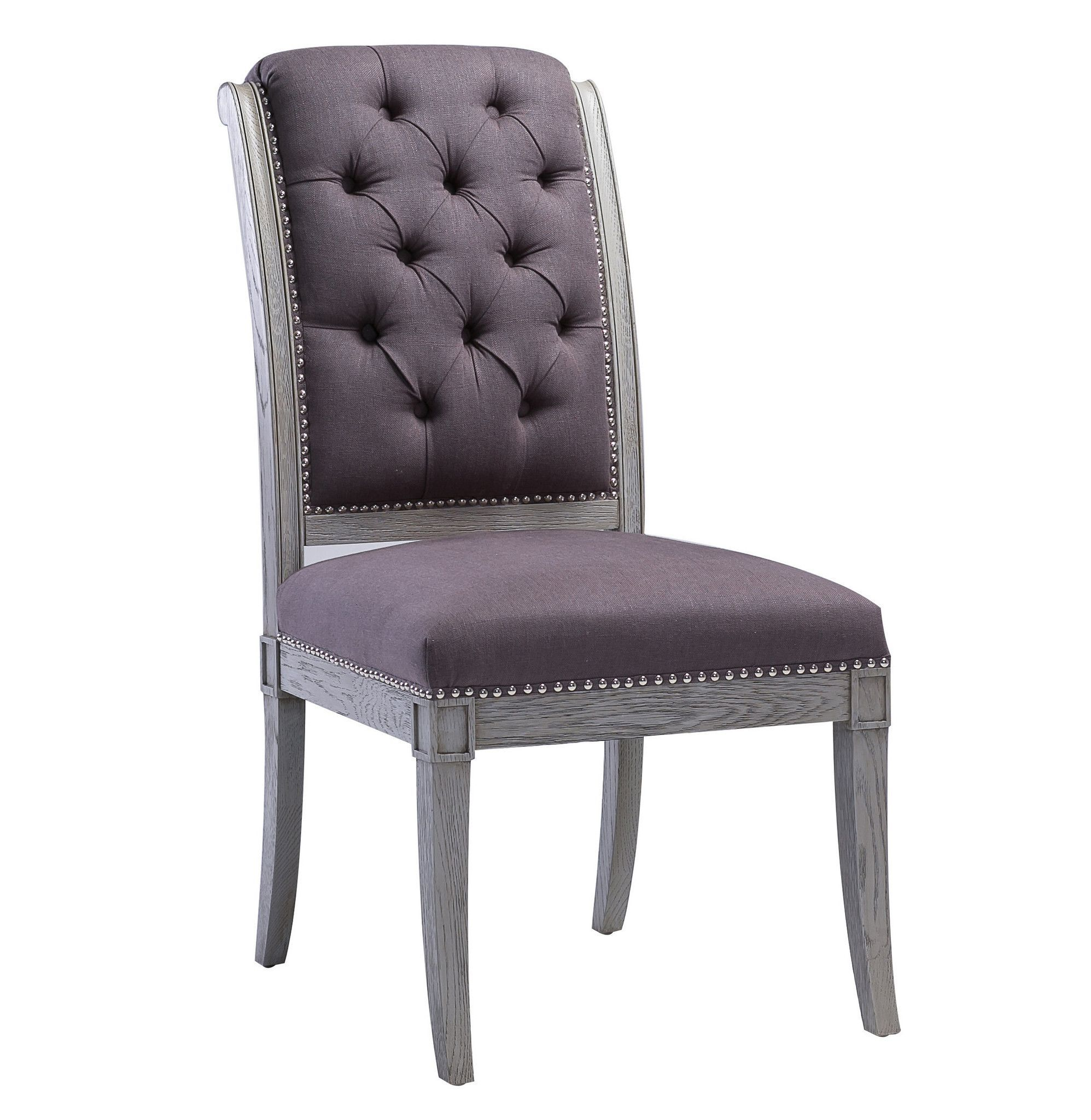 Addington Grey Linen Side Chair