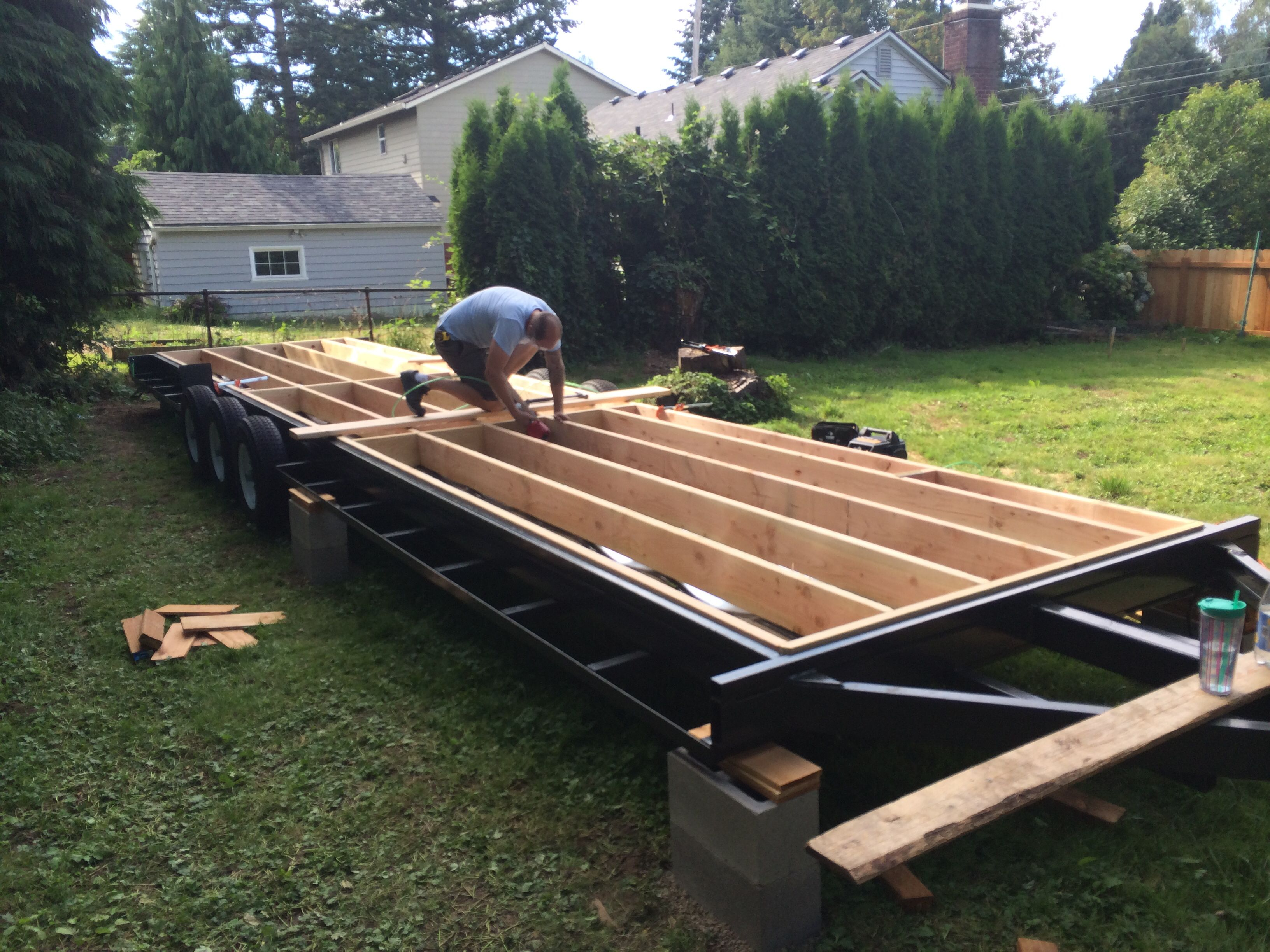 tiny house build 32 trailer 2x8 floor joists are used to create an - Tiny House Framing