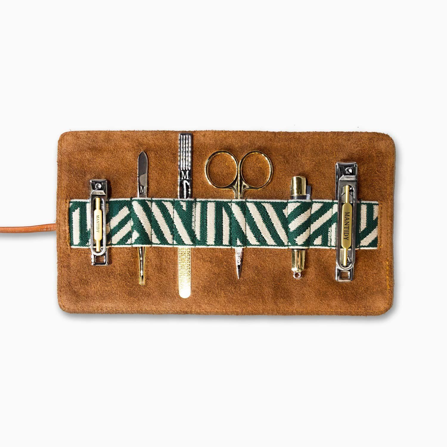 Gaucho grooming roll tan mens manicure set leather