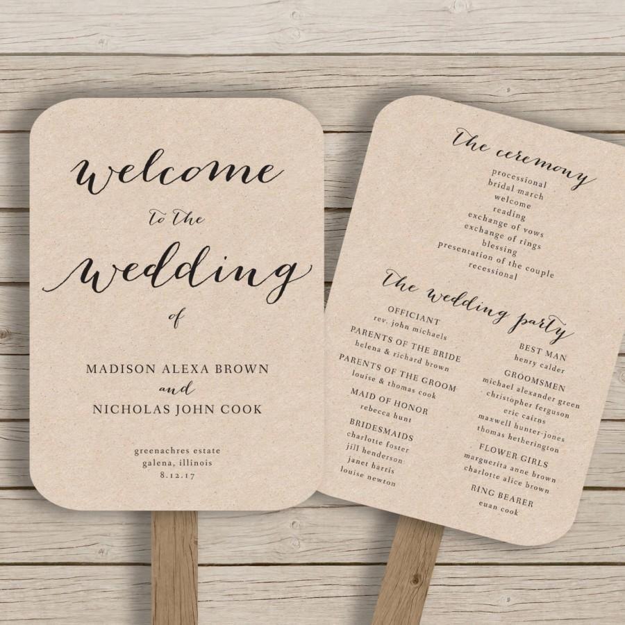 wedding program fan template printable rustic wedding fan