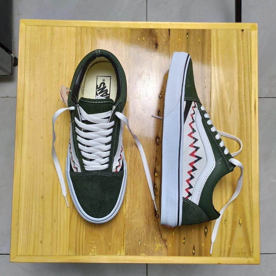 Ready Vans Oldskool Sharktoot Olive White Size 40 41 42 43 44
