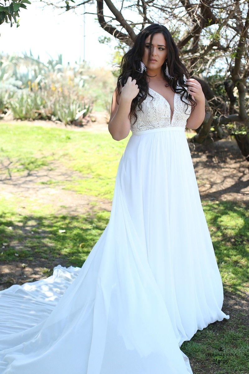 Bohemian plus size wedding dress with detachable sleeves