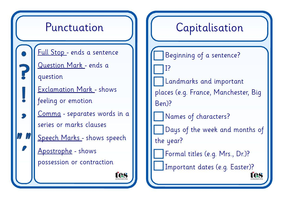 A set of five simple checklist style cards that pupils