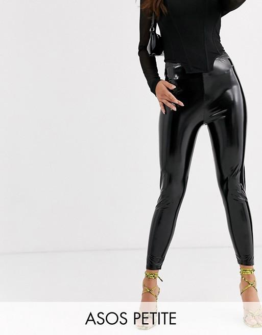 DESIGN Petite vinyl legging | Vinyl leggings, Leather pants