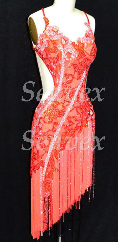 U4554 Fringing Ballroom women salsa rumba Latin chacha samba dance dress US 2 #seahunter