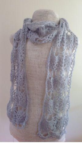 Silver Lace Crochet Scarf Pattern