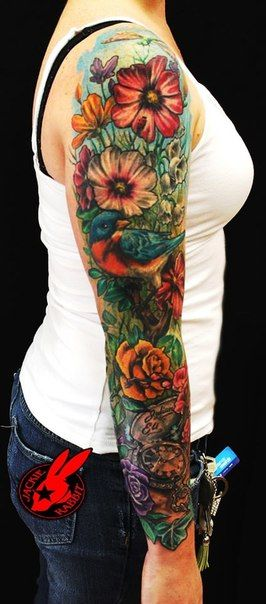 934770a1b bird and flower sleeve tattoos - Google Search | Tattoos | Sleeve ...