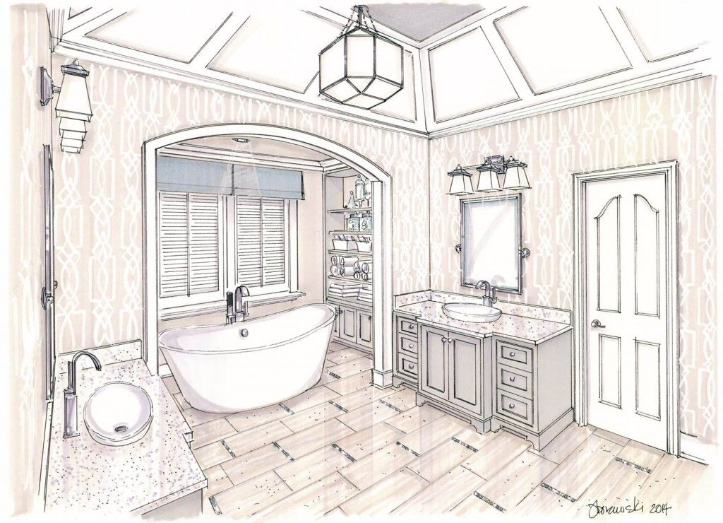 Interior design bathroom sketches for Interior design sketches