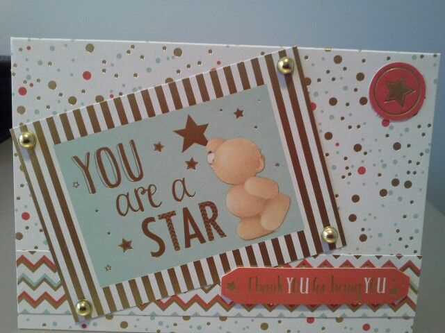 Forever Friends Card Made Using Patterned Card Stock And Toppers