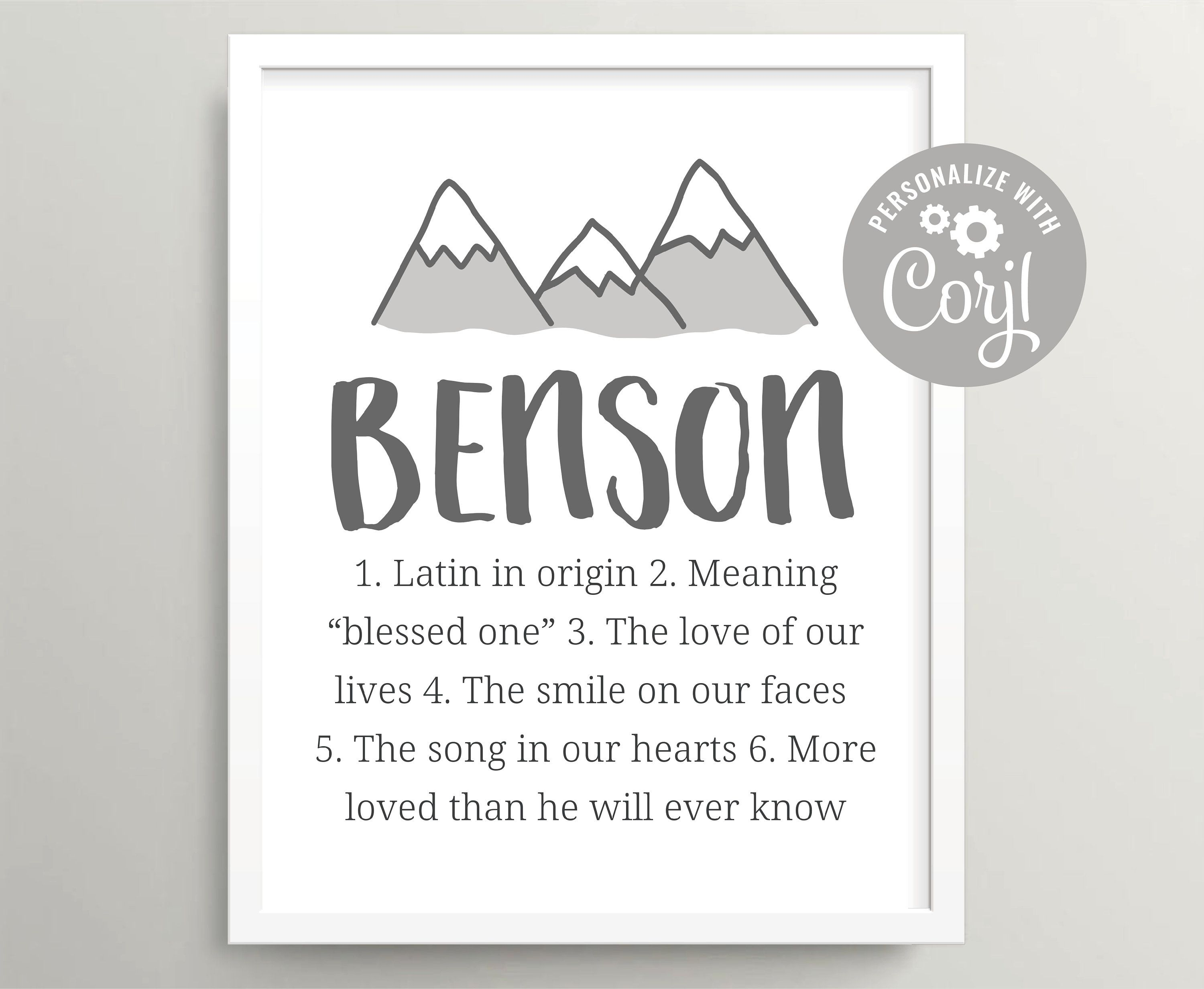 Mountain baby boy name art printable, Woodland forest hunting nursery wall art, Personalized baby shower gift, First name digital download