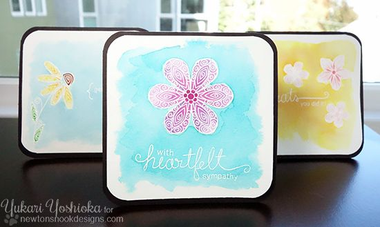 """Watercolor Card Set by Handmade by Yuki   """"Simply Sentimental"""" & """"Beautiful Blossoms"""" by Newton's Nook Designs"""
