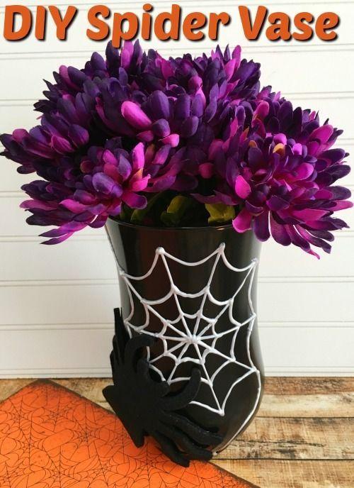 DIY Halloween Decorations - DIY Spider Web Vase DIY Halloween - halloween decorations to make on your own