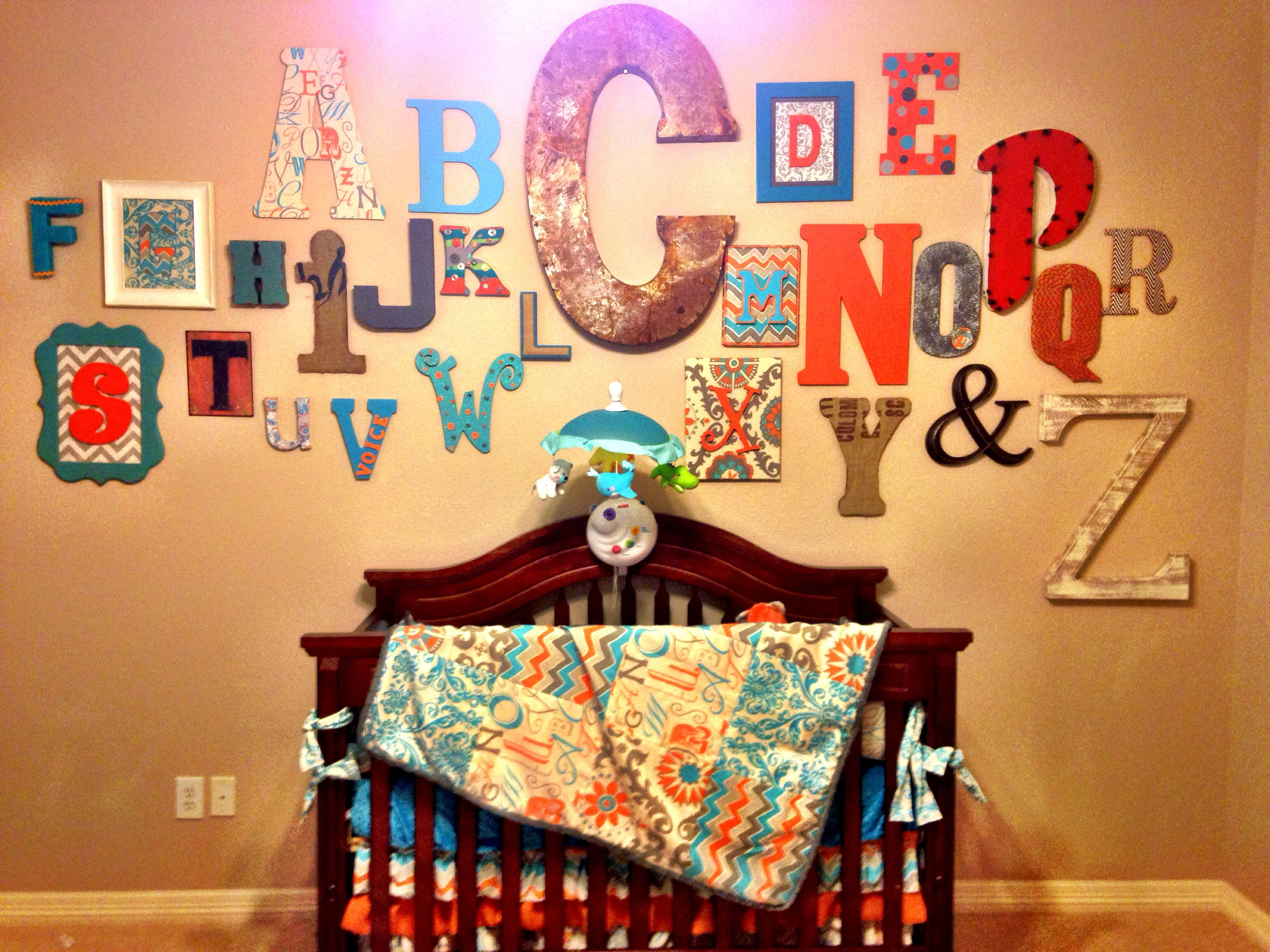 Alphabet Wall- Baby Shower. Assign Friends And Family Members Letter Wall
