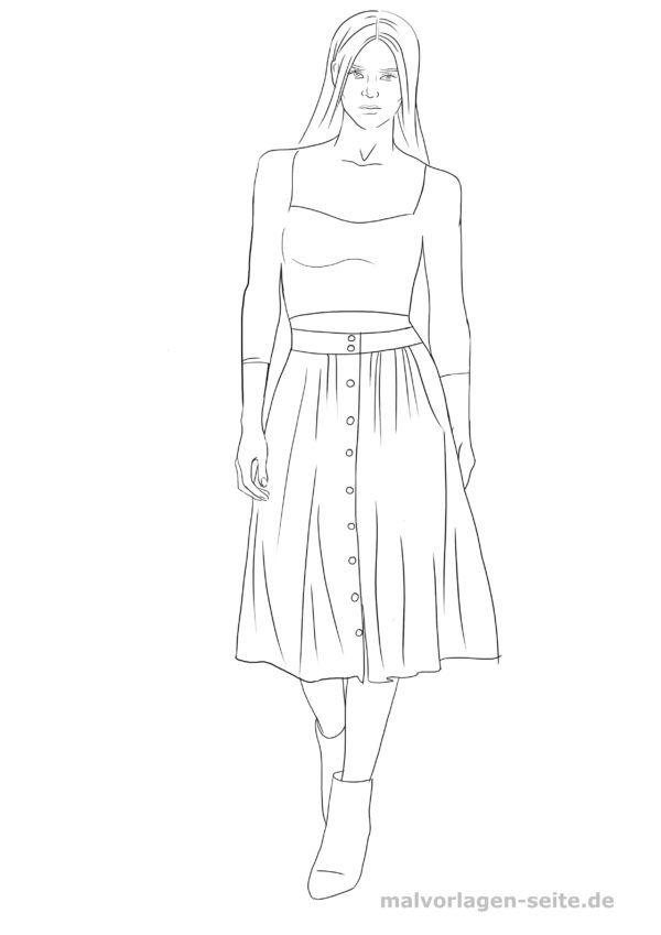 Model ausmalen Topmodel Malvorlage Bluse Rock