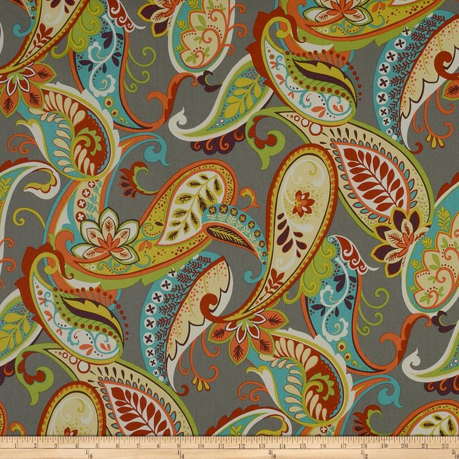 Covington Whimsy Paisley Mardi Gras from @fabricdotcom  Screen printed on cotton duck; this medium weight fabric is very versatile. This fabric is perfect for window treatments (draperies, valances, curtains, and swags), bed skirts, duvet covers, pillow shams, accent pillows, tote bags, aprons, slipcovers and upholstery. Colors include plum, yellow, green, cream, ivory, turquoise, coral, red and grey.