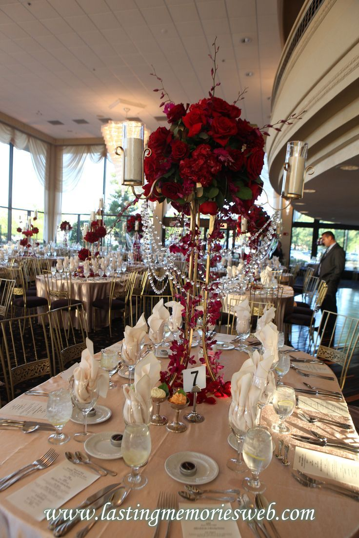 attractive burgundy and gold wedding centerpieces Gold