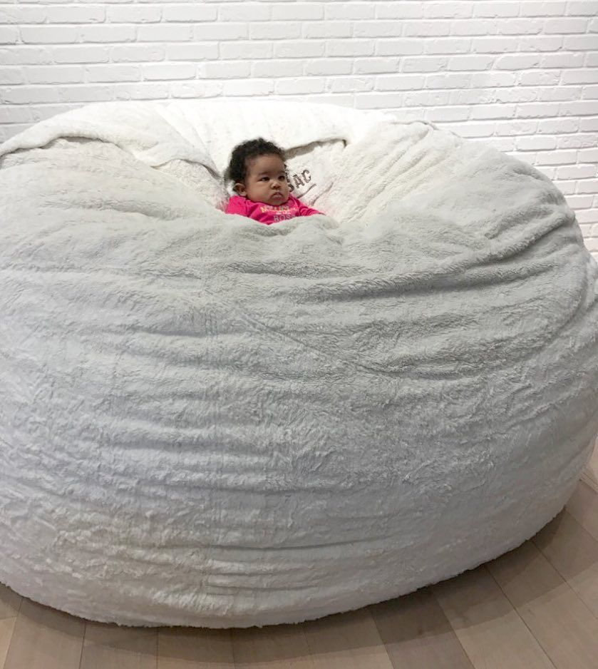 Hope This Baby Can See The Movie Screen Beyond The Huge Sac She S Sunken Down Into Sacs Lovesac Bean Bag Chair Bean Bag Living Room Cozy Room Decor Luv sac bean bag chairs