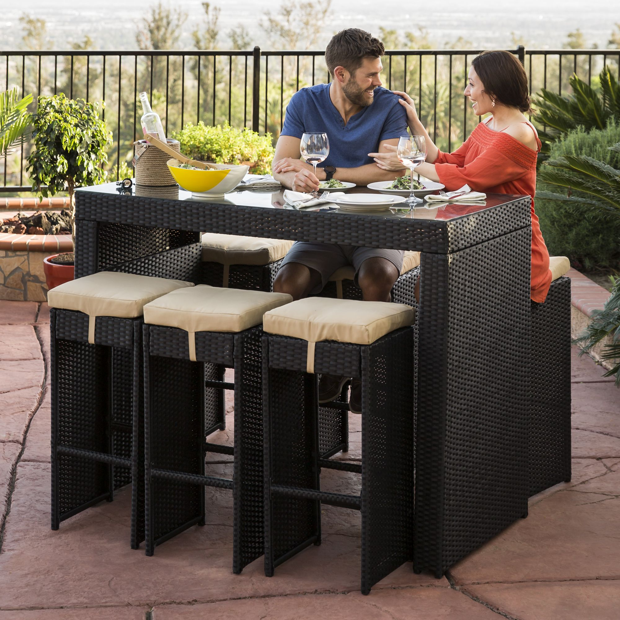 Best Choice Products 7 Piece Outdoor Rattan Wicker Bar Dining