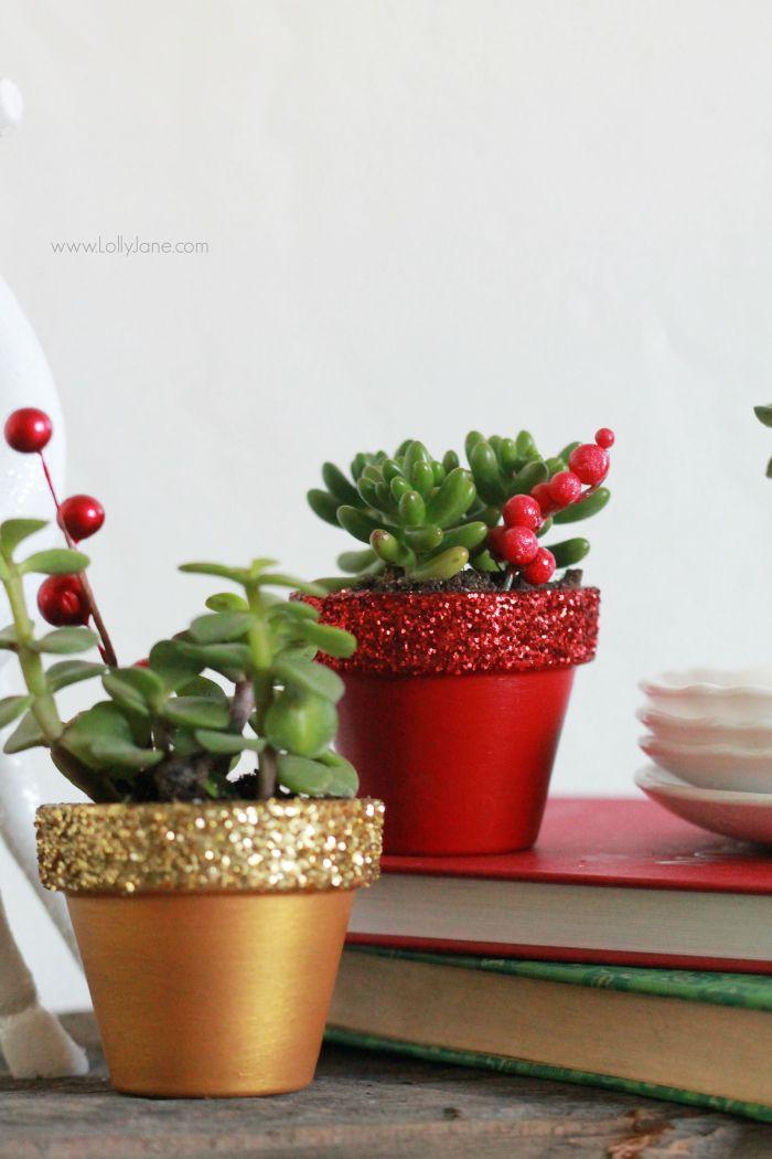 Christmas Succulent Gift Ideas.Handmade Christmas Gift Glitter Succulent Planters