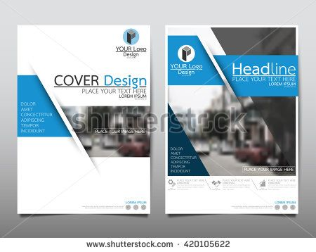 blue fold technology annual report brochure flyer design template