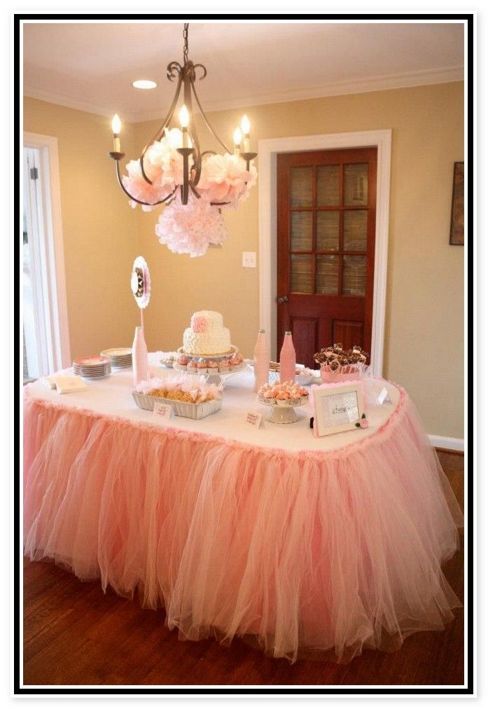 Pictures Of Tulle Decorating Baby Shower Table Decorations With