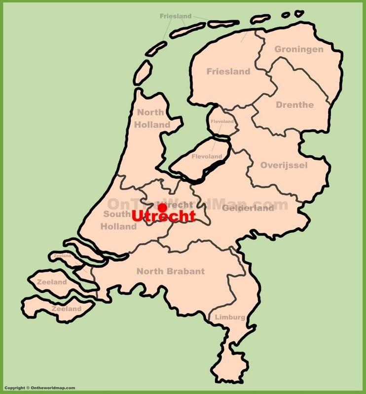 Utrecht location on the Netherlands map Maps Pinterest