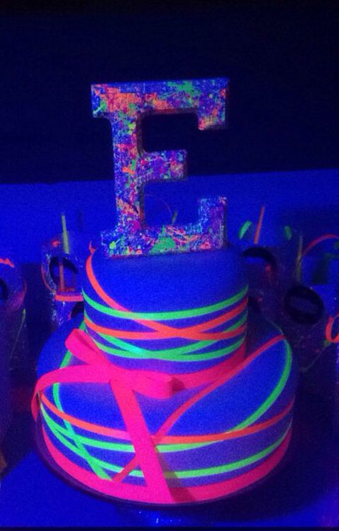Glow In The Dark Cake : Ribbon, Wrapped, Fondant, Birthday, Party,, Cakes,, Party