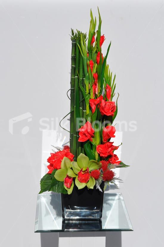 Modern Artificial Red Gladioli Thistle And Cymbidium