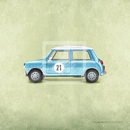 Classic Vintage Style Blue Mini Cooper Car Wall Art Print by Caramel ...