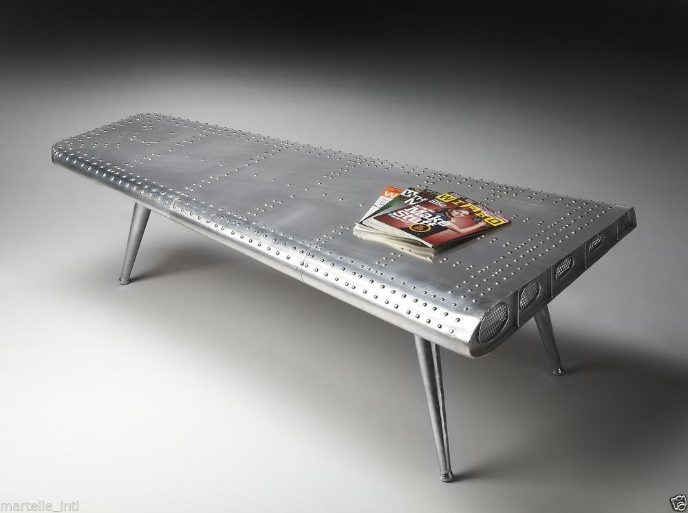 COCKTAIL TABLE Airplane Wing Aluminum 3 Tapered Legs Unique Aviation Style  New #elle #Modern