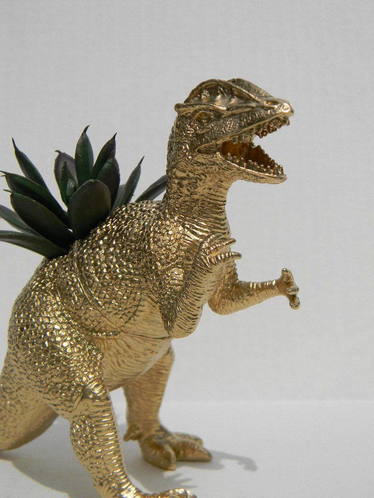 Gold Dinosaur Topper T Rex Tyrannosaurus Figurine Animal Figurines Whimsical Vine Golden Din Gifts Decor Clotheore