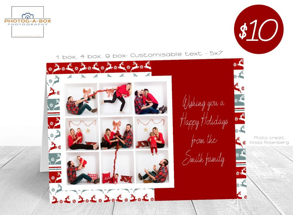 Christmas Card Holiday Card 7x5 1 4 9 Box Photoshop Template Photobox Template Box Design Templates Templates Greeting Card Template